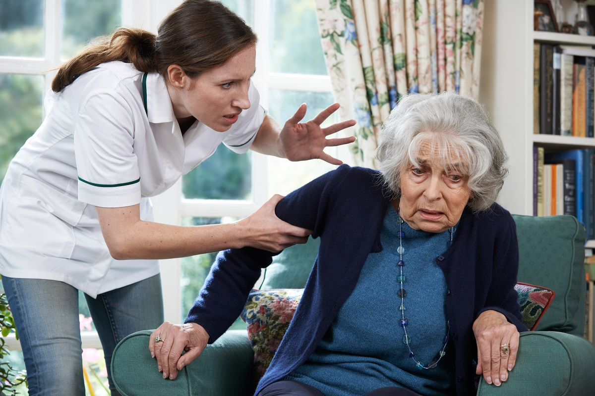 Caregiver shouting at a senior