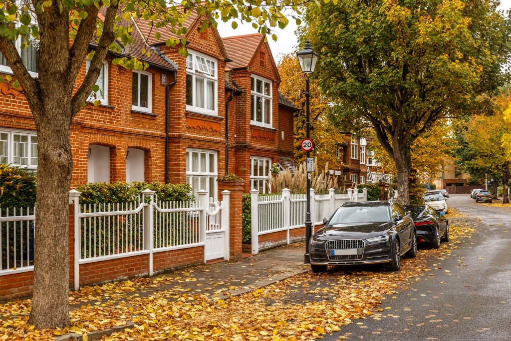 suburb street in autumn, London