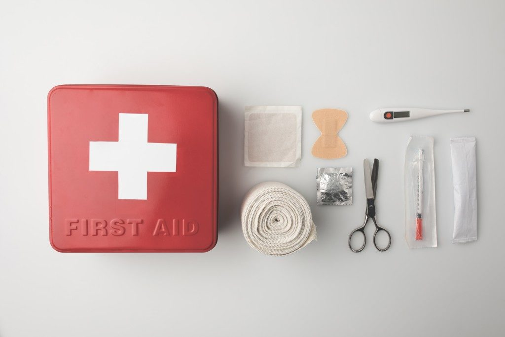 first aid kit box and materials