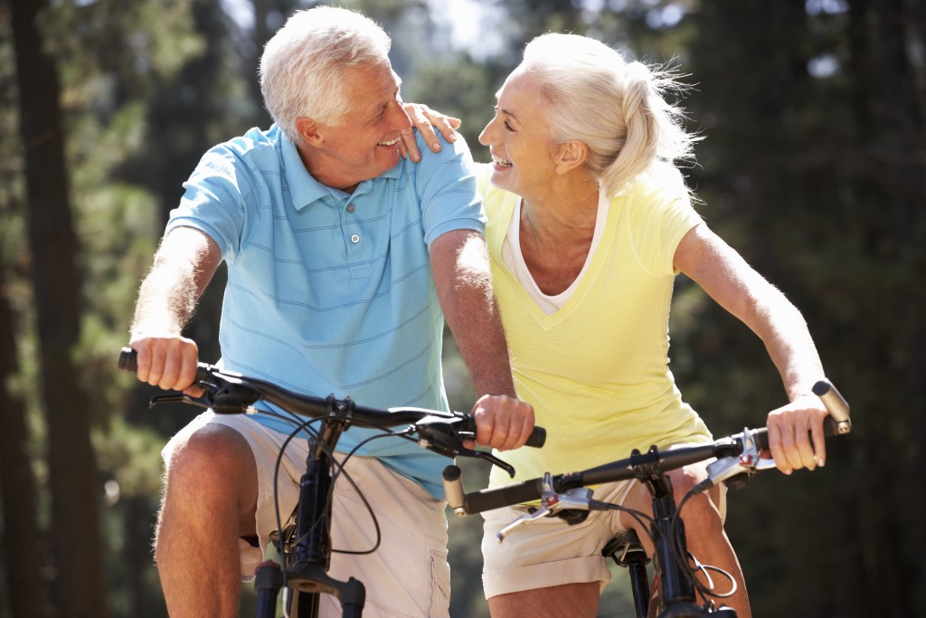 senior couple on bike ride
