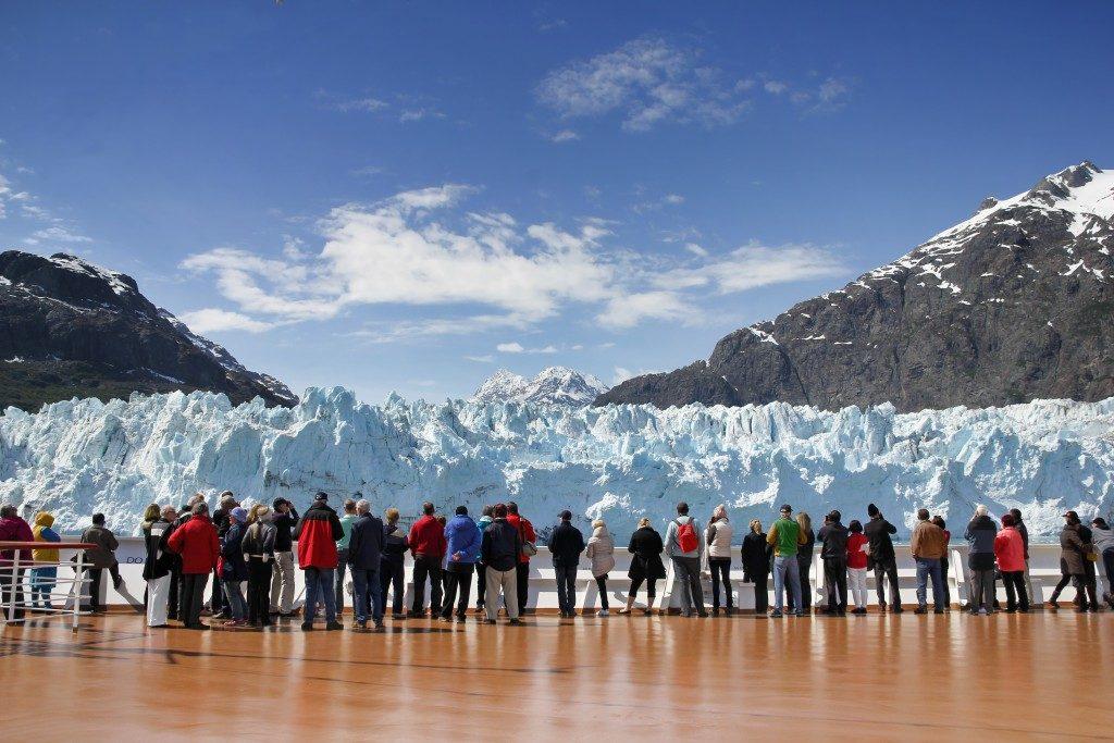 Cruise passengers watching Margerie Glacier, Alaska