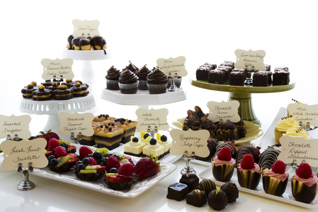 Dessert bar with assorted chocolate sweets